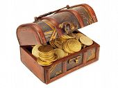 pic of treasure chest  - Treasure Chests with gold coins isolated on white background - JPG