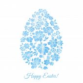 stock photo of easter card  - Floral card for Easter day with watercolor flowers - JPG