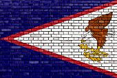 picture of samoa  - flag of American Samoa painted on brick wall - JPG