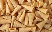 foto of crisps  - image close up of cone thai snack crisp made from rice - JPG