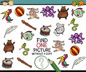 stock photo of brain-teaser  - Cartoon Illustration of Finding Single Picture without Copy Educational Game for Preschool Children - JPG
