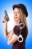 image of gangster  - Woman gangster with gun and money - JPG