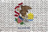 picture of illinois  - flag of Illinois painted on brick wall - JPG