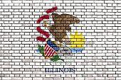 foto of illinois  - flag of Illinois painted on brick wall - JPG