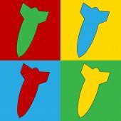 stock photo of bomb  - Pop art bomb symbol icons - JPG