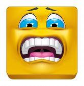 stock photo of terrifying  - Illustration on white background of Square emoticon terrified - JPG