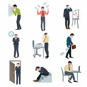 stock photo of fail job  - Failure business set with frustrated businessman failure project disaster bad results isolated vector illustration - JPG