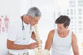 stock photo of spines  - Doctor showing anatomical spine to his patient in medical office - JPG