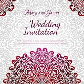 stock photo of indian wedding  - Lacy vector wedding card template - JPG