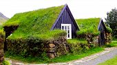 stock photo of iceland farm  - Photography of traditional turf house in south Iceland - JPG