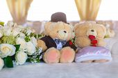 picture of teddy  - Romantic wedding in the banquet hall with teddy bears on the table - JPG