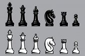 picture of chessboard  - vector sets of black and white chess with part of the chessboard - JPG