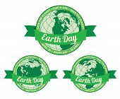 pic of save earth  - Set of globes with Earth day written inside old style banner and Save the planet slogan around - JPG