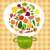 stock photo of recipe card  - Recipes concept card with fruits and vegetables - JPG