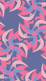 picture of crescent-shaped  - Fluttering pink crescent shapes over blue in seamless pattern - JPG