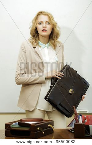 Solid Business Woman With Bag