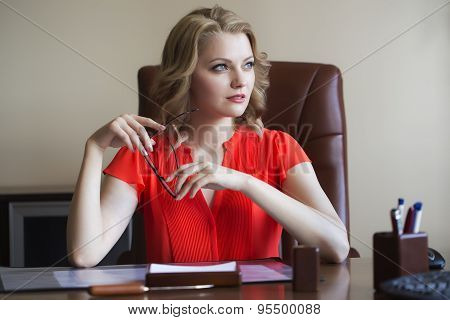 Sexy Business Woman In Office
