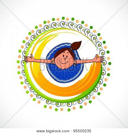 Stylish national flag colors frame with illustration of playing cute little girl for Indian Independence Day celebration.