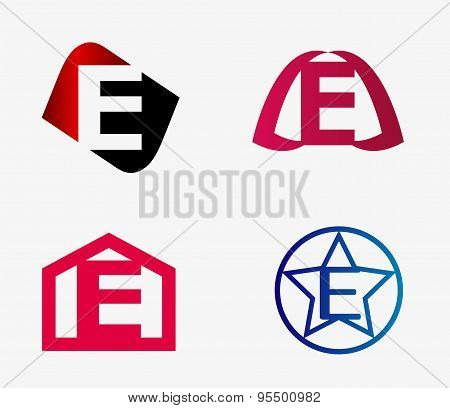 Vector set of abstract icons based on the letter e