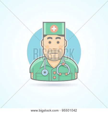 Doctor, medic, surgeon icon. Avatar and person illustration. Flat colored outlined style.