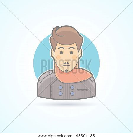 Designer, stylist icon. Avatar and person illustration. Flat colored outlined style.