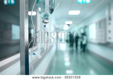 Drip On The Background A Hospital Corridor