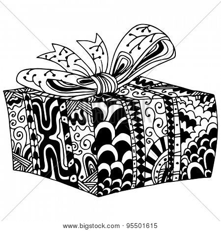 An image of a wrapped gift in a box - zentangle style.