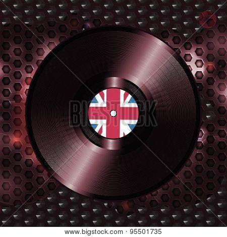 British Vinyl Record On Metallic Honeycomb Background