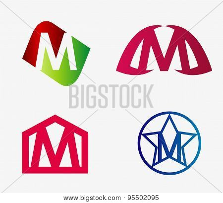 Abstract M round logo design template. Vector creative symbol set