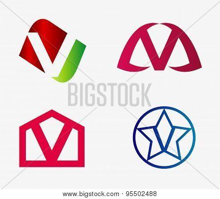 Letter v logo icon set