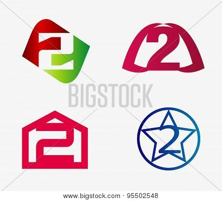Vector sign number two logo set
