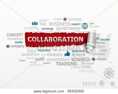 Collaboration Word Cloud. Design Illustration Concepts For Business