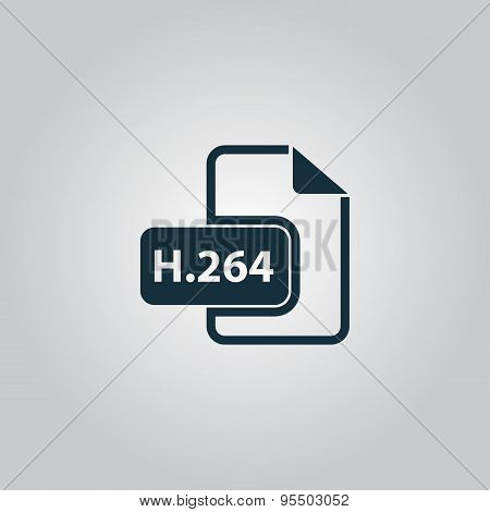 H264 video file extension icon vector.