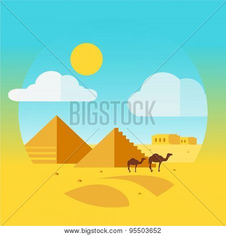 Flat Design Landscape with Camel and Egyptian Pyramids