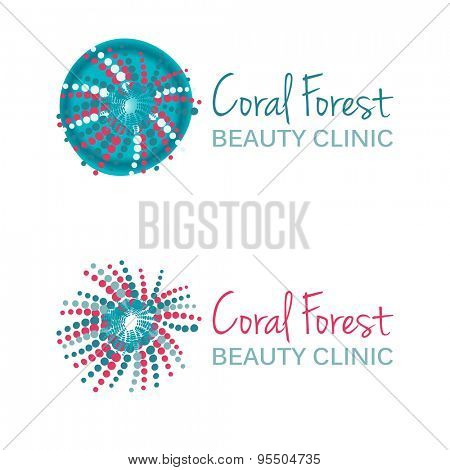 Vector illustration with coral symbol. Logo design. For beauty salon, spa center, health clinic