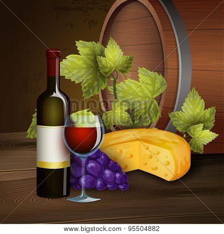 Wine bottle and oak barrel background