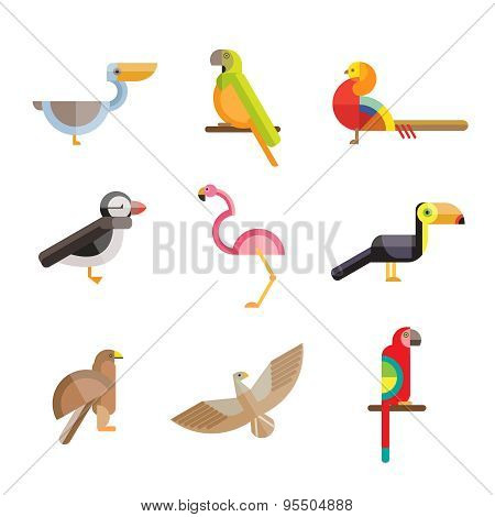 Flat birds made from geometric figures