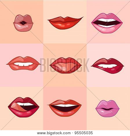 Set of Beautiful Female Lips