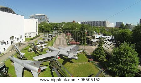 RUSSIA, MOSCOW - MAY 20, 2014: Military hardware at open area of Museum of Armed Forces. Aerial view.