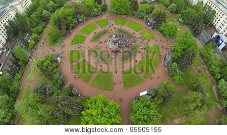 RUSSIA, MOSCOW - MAY 17, 2014: MGU square with many students celebrate Day of Physicist near monument of Lomonosov. Top view