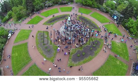 RUSSIA, MOSCOW - MAY 17, 2014: Students climb on monument of Lomonosov on MGU square during Day of Physicist. Aerial view