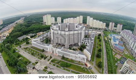 RUSSIA, MOSCOW - MAY 28, 2014: Cityscape with Military Academy of General Staff of Armed Forces of Russian Federation near large park at spring day. Aerial view