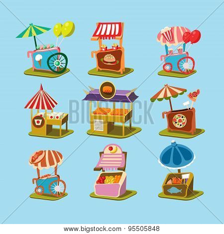 Stalls with Food in Style an Isometric