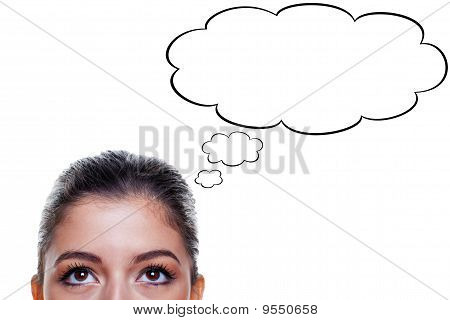 Woman With Thought Bubbles