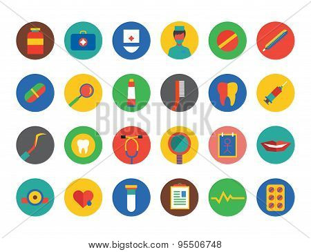 Medical Icons Vector Set. Health, Tools or Tooth and Dentist symbols. Stock design element.