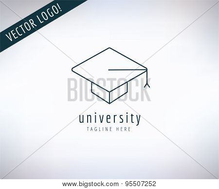 Graduation Hat vector logo icon. Education, students or school and college symbol. Stocks design ele
