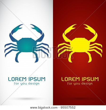 Vector Image Of An Crab Design On White Background And Red Background, Logo, Symbol