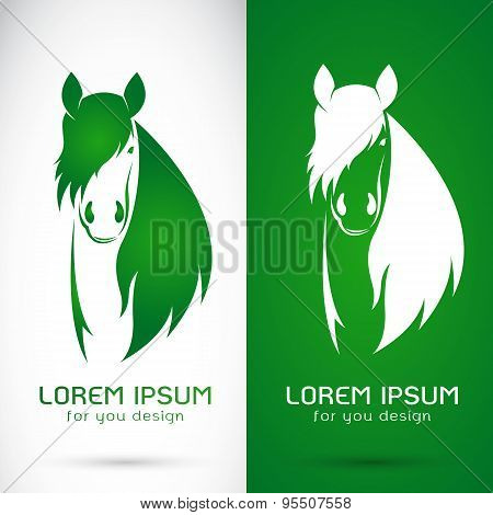 Vector Image Of An Horse Design On White Background And Green Background, Logo, Symbol