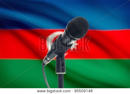 Microphone On Stand With National Flag On Background - Azerbaijan
