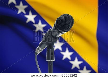 Microphone On Stand With National Flag On Background - Bosnia And Herzegovina
